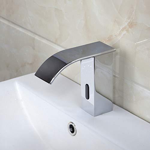 BFLOF Rubinetto Sensore automatico Cascata Rubinetto per bagno Rubinetto per lavabo Cromo Miscelatore caldo e freddo Rubinetto per bagno