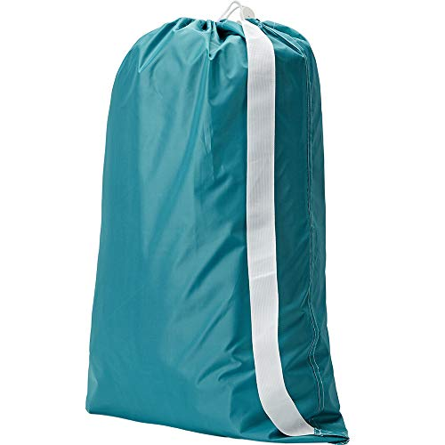 NISHEL Laundry Bag with Shoulder Strap, Sturdy Drawstring Rips and Tears Resistant Nylon Fabric, Collapsible Large Clothes Storage for College, Sky Blue