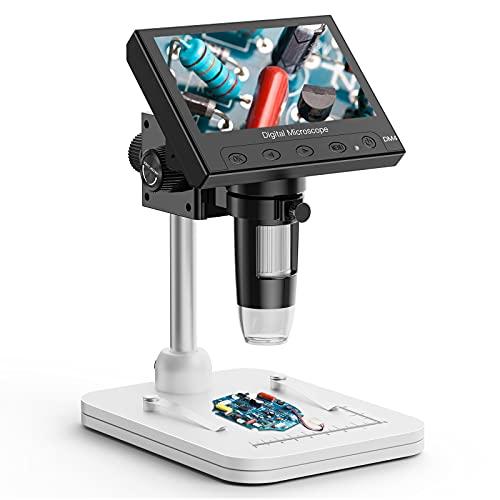 """Elikliv, microscopio endoscopio Digitale con Schermo LCD da 4,3\"""", Zoom con ingrandimento 1000x, 8 luci a LED Regolabili, Memoria Micro-SD, videocamera registratore Video per Riparazione Saldatura"""