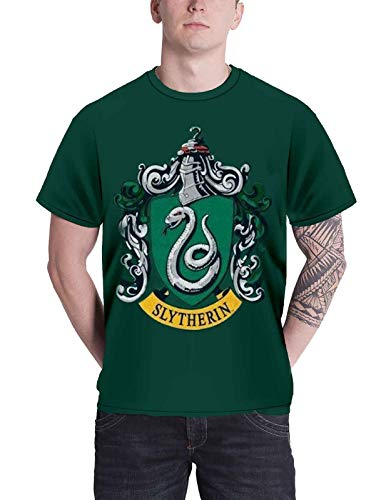 Harry Potter T Shirt Slytherin Crest Emblem logo offiziell Herren Grün