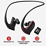 MP3 Player Bluetooth Headphone with Lossless Sound, IPX4 Waterproof Sweatproof Flexible Wrap-Around Style Headphones w/16GB TF Card & Replacement Earbuds for Running Gym and Study VZ SPORT MATE