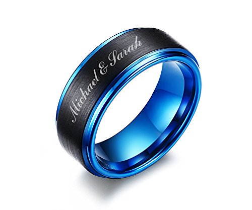 Mealguet Jewelry Personalized Free Custom Engraving Two-Tone Brushed Finish Tungsten Carbide Custom Name Wedding Ring Band for Men,Size 10