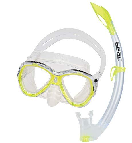 Seac Unisex Jugend Set Elba MD Valve Schnorchelset mit Maske und Schnorchel mit Wasserausblasventil für Kinder, gelb, medium