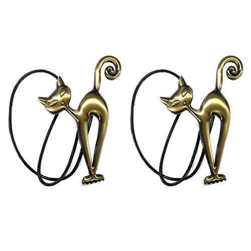 1 par / 2 alzapaños magnéticos para cortinas, diseño de gato de dibujos animados con hebillas, clips de cuerda para decoración del hogar, oficina (bronce)