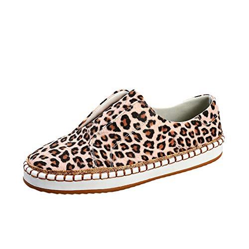 Zapatillas de mujer con estampado de leopardo, de caña baja, de lona, para verano, informales, ligeras, transpirables, para caminar, color Beige, talla 40 EU
