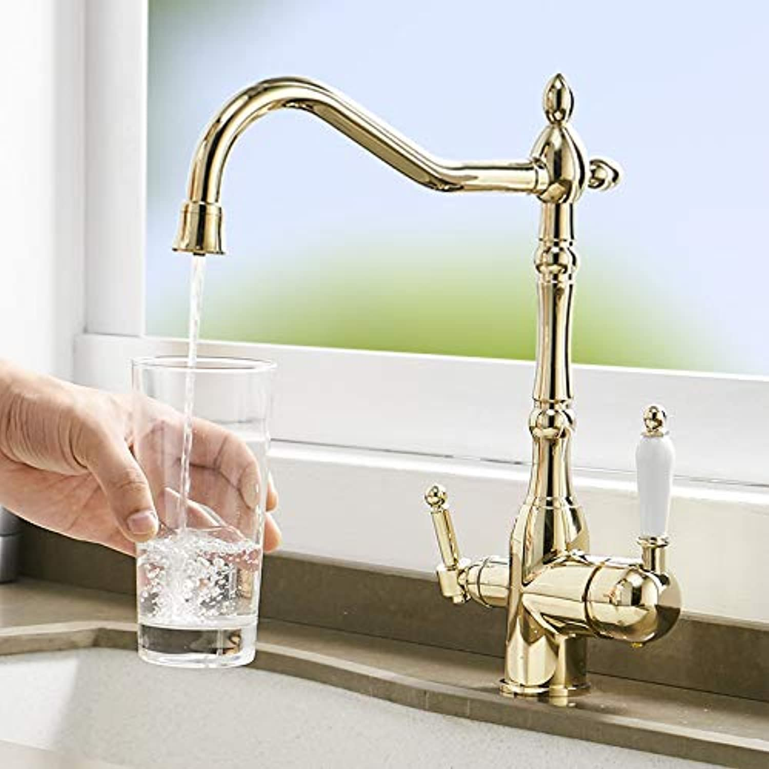 gold Copper Kitchen Faucet hot and Cold Water redating Faucet