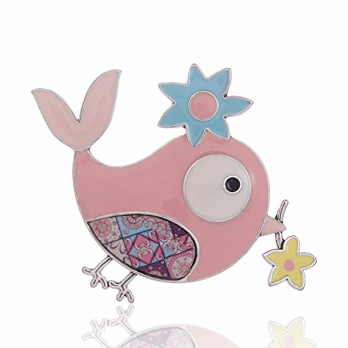 Ruilong Cute Enamel Chick Brooches Lifelike Animal Fashion Jewelry Decoration Wedding Collar Lapel Pin Animal Garment Accessory (Pink)
