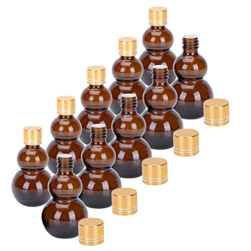 Toyvian 10 Unidades de 50Ml Mini Frascos de Vidrio Ámbar Aceites Esenciales Botellas de Muestra Mini Frasco de Vidrio para Aceites Esenciales Perfumes Perfumes Química Laboratorio