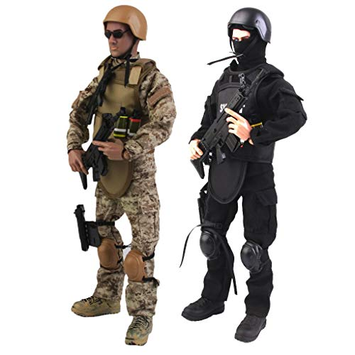 ZSMD 1/6 Scale Military Soldiers Special Forces, 12' Army Man Action Figure Playset with 30 Articulation Points and Accessory 2-Packs