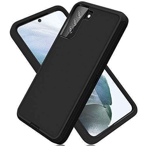 ACAGET for Samsung S21 Case, Galaxy S21 Case 5G Heavy Duty Protective Armor Shock-Absorbing Dual Layer Rubber TPU Cover + PC Frame Non-Slip Bumper Phone Cases for Samsung Galaxy S21 5G Black