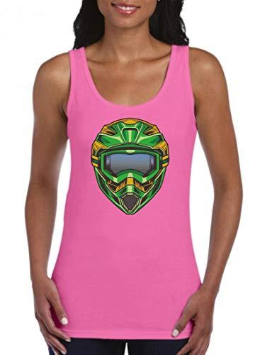 Druckerlebnis24 Tank Top - Camiseta de Tirantes para Casco de Motocross Extremo, para Mujeres y Mujeres Fucsia L
