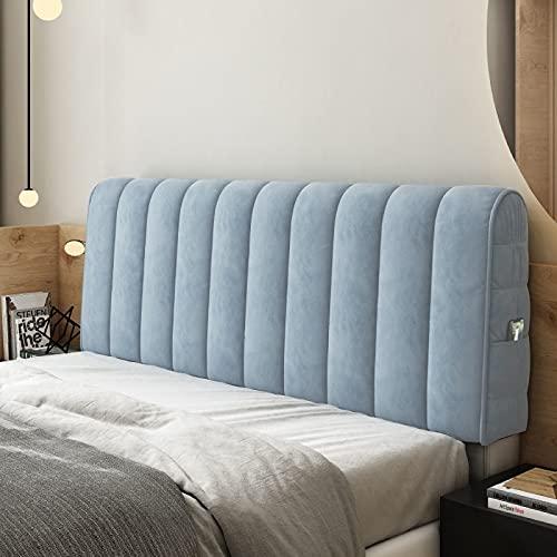 GZGLZDQ Funda para Cabecero De Cama Funda Elástica Acolchada Protector De Diseño Integral Extraíble Lavable Algodón Elástico Grueso para Cama Individual/King/Doble (Color : Azul, Tamaño : 120x60cm)