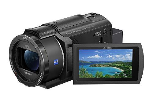 Sony Handycam FDR-AX43 - Videocámara (pantalla de 3' giratoria, grabación 4K Ultra HD, lente Zeiss Vario-Sonnar 26.8 mm, zoom óptico 20x, Balanced Optical SteadyShot, selfies, videos en casa y viajes)