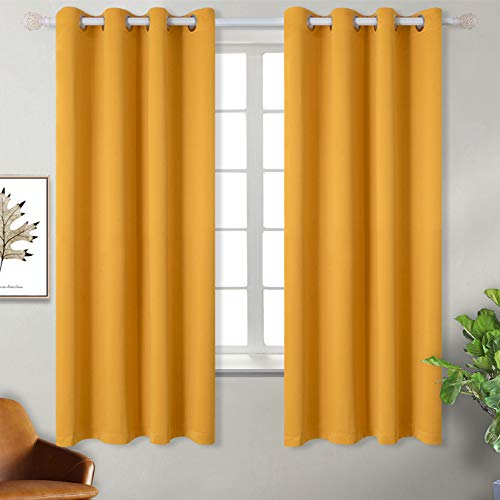 BGment Blackout Curtains for Bedroom - Grommet Thermal Insulated Room Darkening Block Out Curtains for Living Room, Set of 2 Panels (52 x 63 Inch, Mustard Yellow)