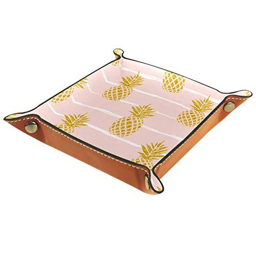 Bandeja de Valet Cuero para Hombres - fruta verano oro rayado - Caja de Almacenamiento Escritorio o Aparador Organizador,Captura para Llaves,Teléfono,Billetera,Moneda