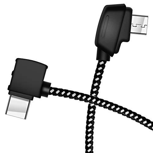 Hanatora Micro-AB to USB-C 8.14 Inch Remote Controller Cable for DJI Mavic Mini/Mavic 2 Pro/Mavic 2 Zoom/Mavic Air/Mavic Pro Platinum,OTG Nylon Braided Type c Tablet Data Cord (Type-C Connector)