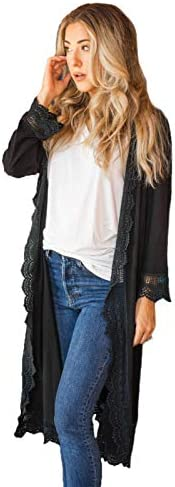 Tickled Teal Women s 3 4 Sleeve Lace Trim Casual Wrap Cardigan Coverup Outerwear Sweater Black product image