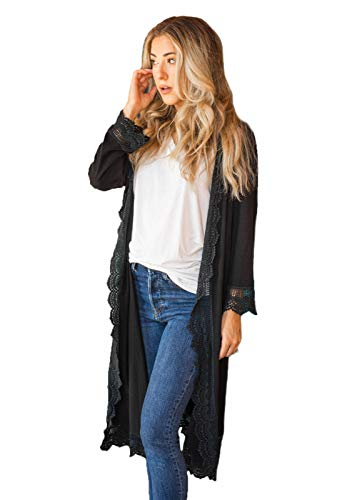 Fashion Shopping Tickled Teal Women's 3/4 Sleeve Lace Trim Casual Wrap Cardigan Coverup Outerwear