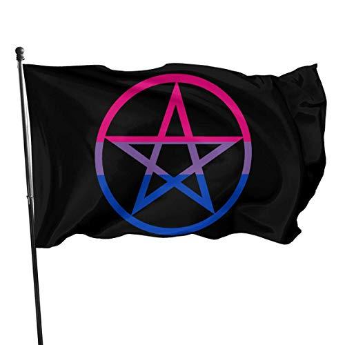 Kenice 3X5 Ft,Willkommensflagge,Garten Flagge,Garten Fahne Vertikal,Verandafahne, Bi Pride Flag Hexen-Pentagramm