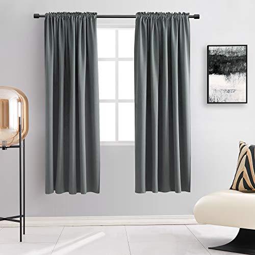 DONREN 72 Inches Long Room Darkening Curtain Draperies for Living Room - Blackout SolidRod Pocket Curtains for Dining Room(2 Panels,Medium Grey)