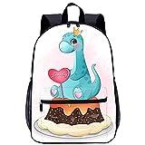 WBLWBL Mochila impresa en 3D Lindo dinosaurio sentado en la mochila de pastel 31 * 14 * 45cm con bolsillos Mochila personalizada para escolares