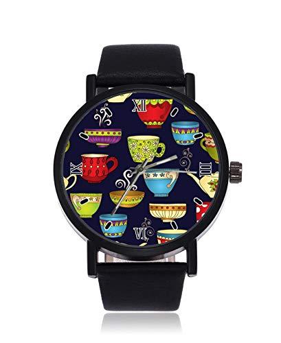 Teekannen und Tassen Mode Herren Armbanduhr Quarz Edelstahl Lederband Casual Watch