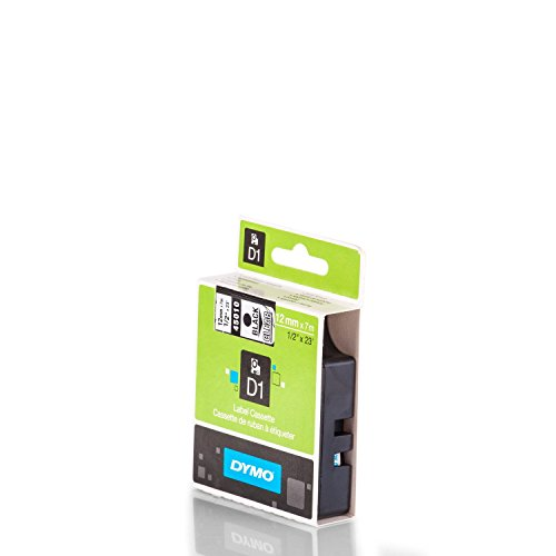 12mm, DYMO D1 Band 45010, Schwarz auf Transparent, Schriftband-Kassette S0720500, Beschriftungsband 12 mm breit, 7mtr.