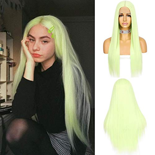 WIGODDESS Lace Front Wigs Long Straight Natural Light Green Color Hair T Part 22inch at Resistant Synthetic Lace Front T Part Wig Daily Party Queen Makeup Gift Wig For Women