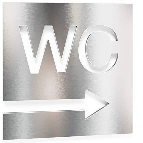 Edelstahl WC-Schild – selbstklebend & pflegeleicht – Design Toiletten-Schild – Pfeil Richtung rechts – W.02.E