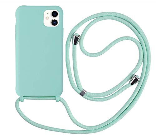 MEIVS Funda Compatible con iPhone 11, Ajustable Collar Correa de Cuello CordónCarcasa de Silicona-Verde Claro