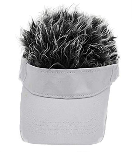 Adult Novelty Sun Visor Cap with Spiked Hairs Wig Peaked Adjustable Baseball Hat (White Grey)