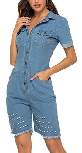Korte jumpsuits Denim Dames - wijde playsuit met wijde pijpen Jumpsuit Jeans Shorts Dames Overalls Tuinbroek