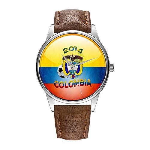 Reloj de hombre marrón Cortex de cuarzo para hombre famoso reloj de pulsera de cuarzo para regalo promocional World of Soccer 2014 Colombia Watch