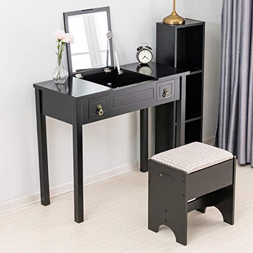 mecor Schminktisch Minimalismus Schwarz Kosmetiktisch Frisierkommode mit Flip top Spiegel Design, 2 Schubladen, 3 abnehmbare Organizer und rechteckiger Hocker