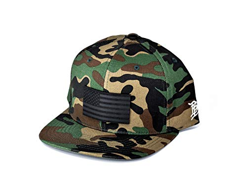 Branded Bills USA 'Midnight Glory' Dark Leather Patch Classic Snapback Hat - One Size Fits All (Camo)