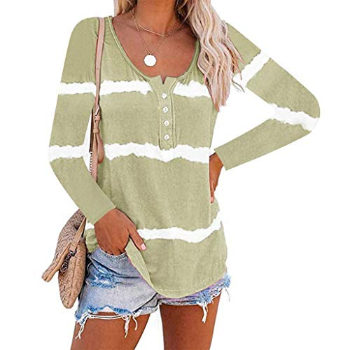 haoricu Womens V Neck Tie-Dye Shirts Summer Loose Long Sleeve Tops Ladies Casual Pullover Top Green