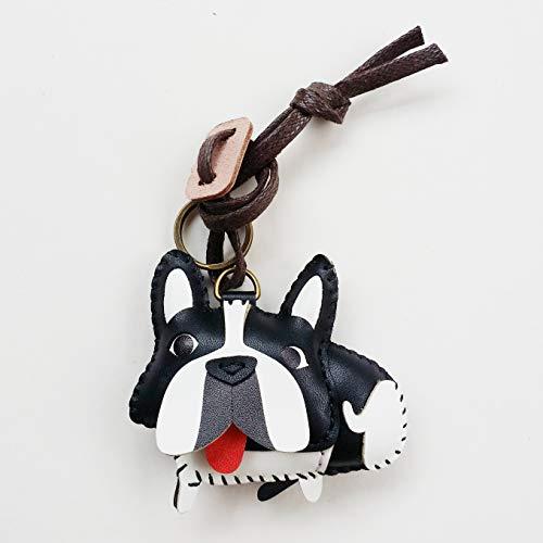 3XU Leather Frenchie Keychain Bag Charm, Cute Leather Bag Charm, Animal Keychain, Handbag Accessories for Women Girls
