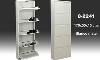 DRW Mueble Zapatero de Metal de 5 cajones en Color Blanco Mate, 170 X 50 X 15 cm