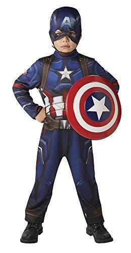 Avengers Kostüm Capitan America Classic, mit Wappen, in Verpackung L blau