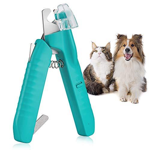 Cortauñas Gato, Tijeras para uñas con luz LED, Cortaúñas para perros Gatos con lima de uñas, Cortauñas de Perro, Perros Accesorios para Animales