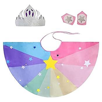 Rainbow Kids Superhero-Cape-Costume for Girls Boys Super Hero Dress-Up Princess Party Bracelets and Crown  Pink Princess