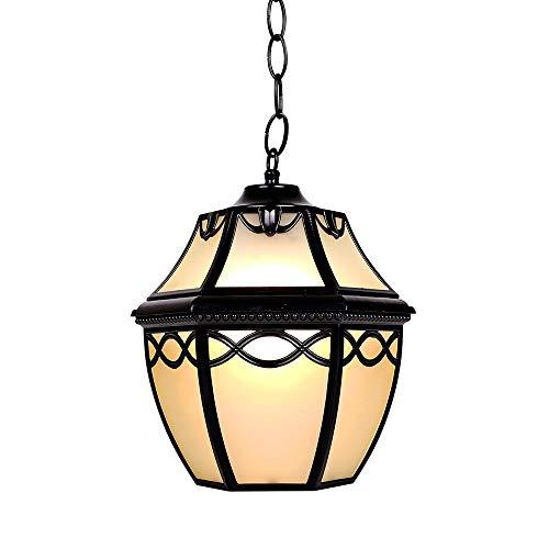 ZZYJYALG Ajustable Europeo Antiguo Al Aire Libre Impermeable Lámpara Colgante De Aluminio De Vidrio Solo Cabeza Araña Jardín Pasillo Pasillo Patio Lámpara Colgante E27