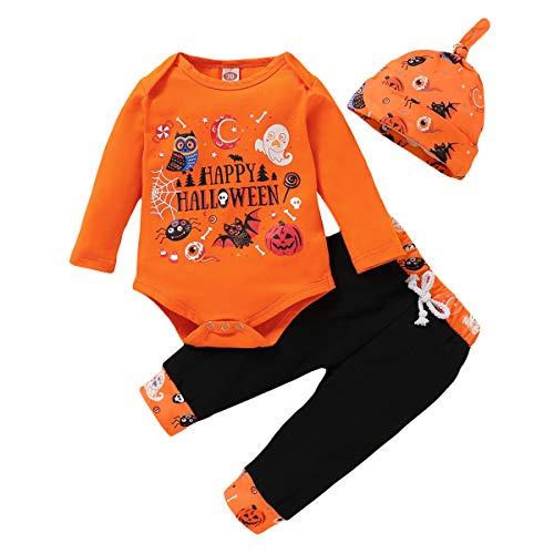 Borlai Baby-Halloween-Kostüm, für Mädchen & Jungen, Neugeborene, Kürbis-Design, Strampler, Body, niedlicher Jumpsuit, 0-24 Monate Gr. 3-6 Monate, orange