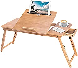BusinMuge Laptop Bed Tray Table , Adjustable Height Bamboo Lap Desk for Writing Reading Eating,Portable Laptop Table Fits up Most Computers,Three Sizes Computer Bed Tray with Storage Drawer