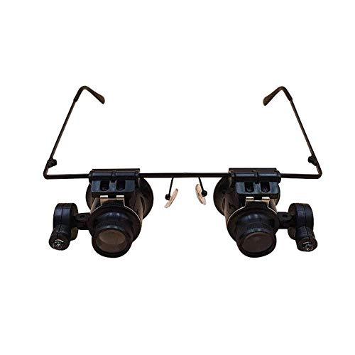 Lupe Stirnband Glas mit LED-Licht, 20-fache Vergrößerung Mikroskop Brille Schmuck Werkzeug Uhr Reparatur Reparatur Werkbank Freisprech-Lupe