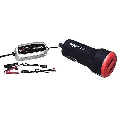 CTEK MXS 5.0 Caricabatterie Automatico (Carica, Mantiene e Ripristina Batterie da Auto e Moto) 12V, 5 Amp. – Presa Europea + Amazon Basics - Caricabatterie per Auto 4.8 A/24 W 2 Porte USB, Nero/Rosso