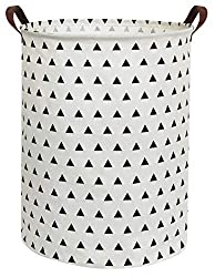 Large Sized White with triangle pattern Canvas Storage Basket with Handle