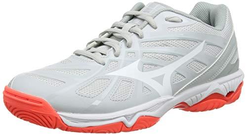 Mizuno Wave Hurricane 3, Zapatos de Voleibol Mujer, Gris (Glaciergray/Wht/Fcoral 60), 37 EU