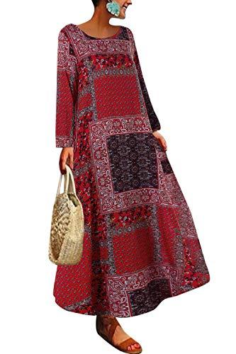 Yulinge Damen Sommer Kleider Elegant Baumwolle Leinen Vintage Ärmellos Blumen Baggy Lose Beiläufige Lang Maxi Kleid Floral3 XXL