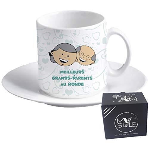 My Custom Style tazzina Espresso+piattino#Nonni-Meilleurs Grands-Parents#60x57mm